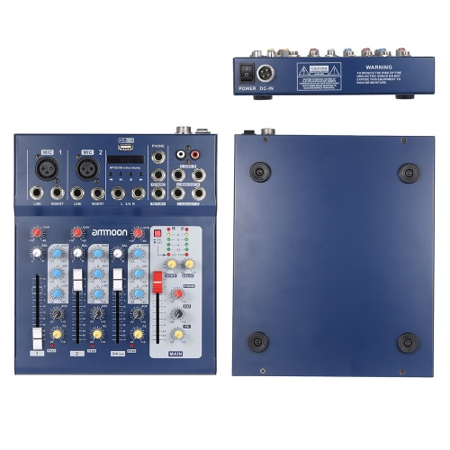 ammoon  F4-USB 3 Channel Digtal Mic Line Audio Mixing Mixer Console with 48V Phantom Power for Recording DJ Stage Karaoke Music ApToys &amp; Hobbies<br>ammoon  F4-USB 3 Channel Digtal Mic Line Audio Mixing Mixer Console with 48V Phantom Power for Recording DJ Stage Karaoke Music Ap<br>