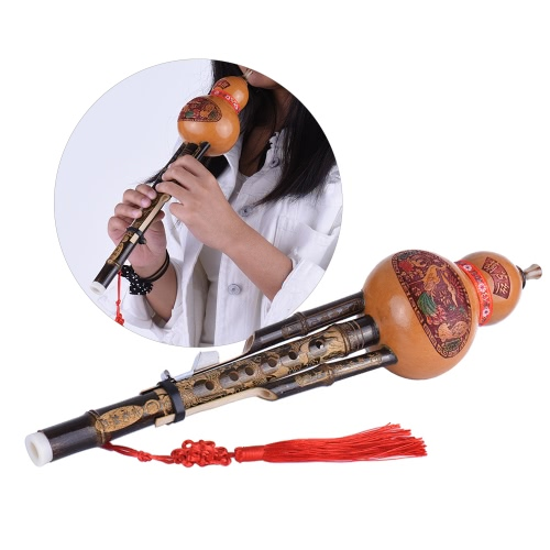 Chinese Handmade Black Bamboo Hulusi Gourd Cucurbit Flute Ethnic Musical Instrument Key of C with Case for Beginner Music LoversToys &amp; Hobbies<br>Chinese Handmade Black Bamboo Hulusi Gourd Cucurbit Flute Ethnic Musical Instrument Key of C with Case for Beginner Music Lovers<br>