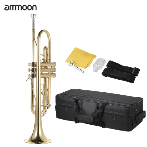ammoon Trumpet Bb B Flat Brass Gold-painted Exquisite Durable Musical Instrument with Mouthpiece Valve Oil Gloves Strap CaseToys &amp; Hobbies<br>ammoon Trumpet Bb B Flat Brass Gold-painted Exquisite Durable Musical Instrument with Mouthpiece Valve Oil Gloves Strap Case<br>