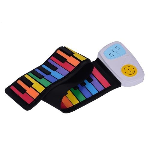 49キーレインボーロールアップピアノ電子キーボードカラフルなシリコンキー内蔵スピーカー子供のための音楽教育おもちゃ