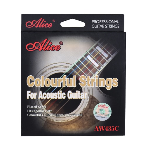 Alice AW435C Colorful Rainbow Acoustic Folk Guitar Strings Steel &amp; Coated 6pcs/set (.011-.052) Golden Ball EndToys &amp; Hobbies<br>Alice AW435C Colorful Rainbow Acoustic Folk Guitar Strings Steel &amp; Coated 6pcs/set (.011-.052) Golden Ball End<br>