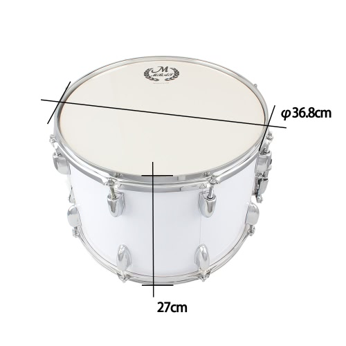 14in Marching Drum Stainless Steel &amp; Maple Wood Body PVC Drumhead with Sticks Shoulder Strap Key for Student Professional DrummerToys &amp; Hobbies<br>14in Marching Drum Stainless Steel &amp; Maple Wood Body PVC Drumhead with Sticks Shoulder Strap Key for Student Professional Drummer<br>
