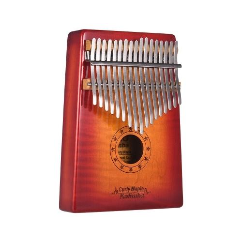 GECKO MC-S 17鍵Kalimba ThumbピアノMbira Curly Mapleキャリーバッグ付きソリッドウッド収納ケースチューニングハンマーミュージックブックステッカーミュージカルギフト