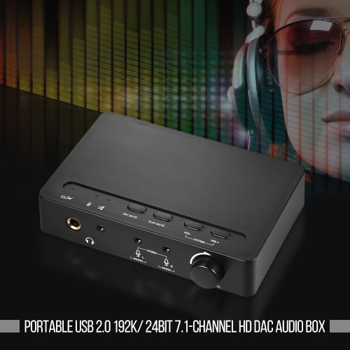 Portable USB 2.0 192K/ 24bit 7.1-Channel HD Audio Box Sound Card DAC Headphone Amplifier with 3.5mm &amp; 6.35mm Headphone JacksToys &amp; Hobbies<br>Portable USB 2.0 192K/ 24bit 7.1-Channel HD Audio Box Sound Card DAC Headphone Amplifier with 3.5mm &amp; 6.35mm Headphone Jacks<br>