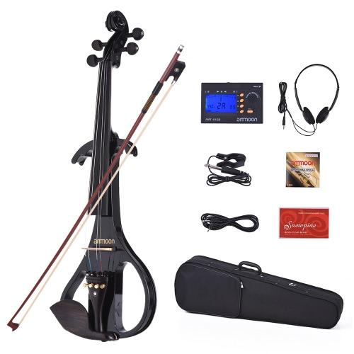 ammoon VE-209 Full Size 4/4 Solid Wood Silent Electric Violin Fiddle Maple Body Ebony Fingerboard Pegs Chin Rest Tailpiece with BoToys &amp; Hobbies<br>ammoon VE-209 Full Size 4/4 Solid Wood Silent Electric Violin Fiddle Maple Body Ebony Fingerboard Pegs Chin Rest Tailpiece with Bo<br>