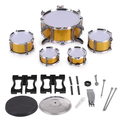 Children Kids Drum Set Musical Instrument Toy 5 Drums with Small Cymbal Stool Drum Sticks for Boys GirlsToys &amp; Hobbies<br>Children Kids Drum Set Musical Instrument Toy 5 Drums with Small Cymbal Stool Drum Sticks for Boys Girls<br>