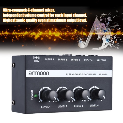 ammoon MX400 Ultra-compact Low Noise 4 Channels Line Mono Audio Mixer with Power AdapterToys &amp; Hobbies<br>ammoon MX400 Ultra-compact Low Noise 4 Channels Line Mono Audio Mixer with Power Adapter<br>