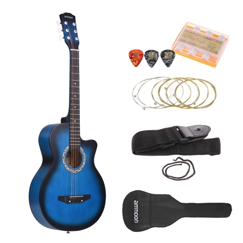 ammoon 38 6-String Cutaway Folk Acoustic Guitar with Bag Strap String Tuner Pick for Beginners Music Lovers StudentsToys &amp; Hobbies<br>ammoon 38 6-String Cutaway Folk Acoustic Guitar with Bag Strap String Tuner Pick for Beginners Music Lovers Students<br>