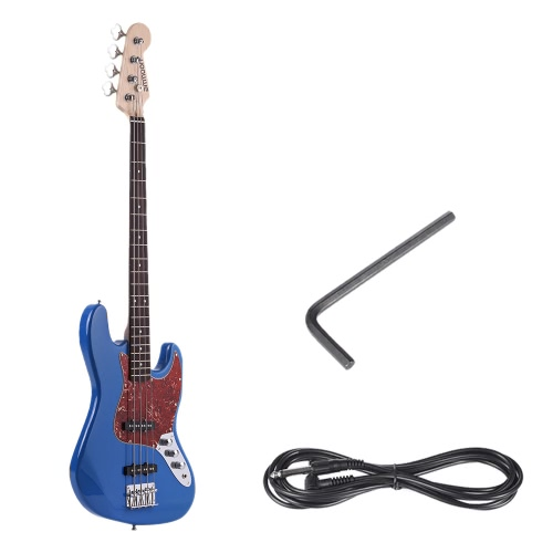 ammoon Solid Wood 4 String JB Electric Bass Guitar  Basswood Body Rosewood Fretboard 24 Frets with 6.35mm CableToys &amp; Hobbies<br>ammoon Solid Wood 4 String JB Electric Bass Guitar  Basswood Body Rosewood Fretboard 24 Frets with 6.35mm Cable<br>