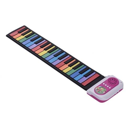 37キーポータブルロールアップピアノシリコン電子キーボードカラフルなキー子供の子供のための内蔵スピーカーミュージカルおもちゃ