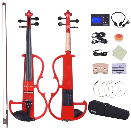 ammoon Full Size 4/4 Solid Wood Electric Silent Violin Fiddle Style-2 Ebony Fingerboard Pegs Chin Rest Tailpiece with Bow Hard CasToys &amp; Hobbies<br>ammoon Full Size 4/4 Solid Wood Electric Silent Violin Fiddle Style-2 Ebony Fingerboard Pegs Chin Rest Tailpiece with Bow Hard Cas<br>
