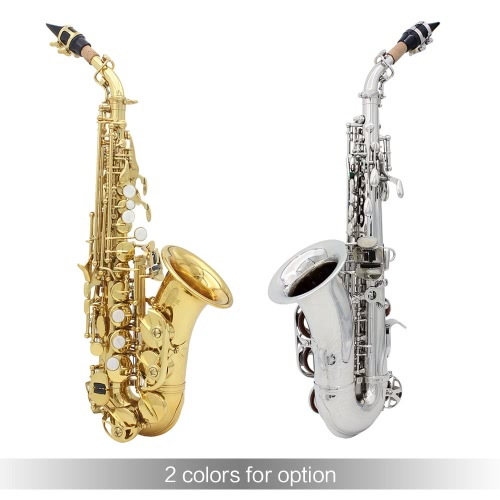 LADE Brass Golden Carve Pattern Bb Bend Althorn Soprano Saxophone Sax Pearl White Shell Buttons Wind Instrument with Case Gloves CToys &amp; Hobbies<br>LADE Brass Golden Carve Pattern Bb Bend Althorn Soprano Saxophone Sax Pearl White Shell Buttons Wind Instrument with Case Gloves C<br>
