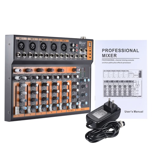 Portable 7-Channel Mic Line Audio Mixer Mixing Console 3-band EQ USB Interface 48V Phantom Power with Power AdapterToys &amp; Hobbies<br>Portable 7-Channel Mic Line Audio Mixer Mixing Console 3-band EQ USB Interface 48V Phantom Power with Power Adapter<br>