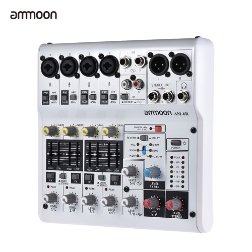 ammoon AM-6R 8-Channel Sound Card Digital Audio Mixer Mixing Console Built-in 48V Phantom Power Support Powered by 5V Power Bank wToys &amp; Hobbies<br>ammoon AM-6R 8-Channel Sound Card Digital Audio Mixer Mixing Console Built-in 48V Phantom Power Support Powered by 5V Power Bank w<br>