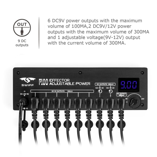 SWIFF Mini Guitar Effect Power Supply Station 9 Isolated DC Outputs 9V 12V Adjustable Voltage 9-24V for Guitar Effects with PowerToys &amp; Hobbies<br>SWIFF Mini Guitar Effect Power Supply Station 9 Isolated DC Outputs 9V 12V Adjustable Voltage 9-24V for Guitar Effects with Power<br>