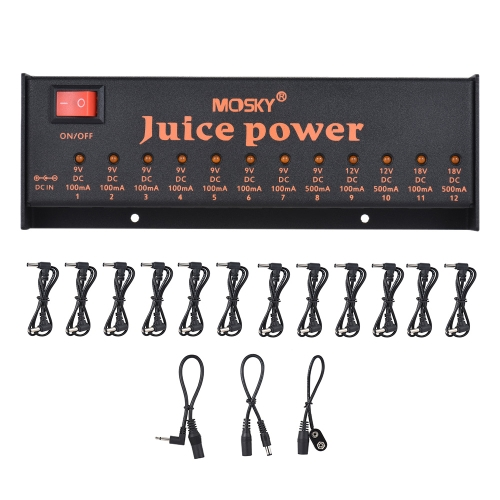 MOSKY JUICE POWER Guitar Effect Power Supply Station 12 Isolated DC Outputs for 9V 12V 18V Guitar Effects Low-power Amplifier AmpToys &amp; Hobbies<br>MOSKY JUICE POWER Guitar Effect Power Supply Station 12 Isolated DC Outputs for 9V 12V 18V Guitar Effects Low-power Amplifier Amp<br>