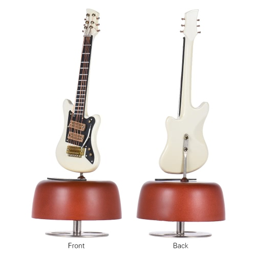 Classical Wind Up White Electric Guitar Music Box Rotating Musical Base Instrument Miniature Replica Artware with Case for BirthdaToys &amp; Hobbies<br>Classical Wind Up White Electric Guitar Music Box Rotating Musical Base Instrument Miniature Replica Artware with Case for Birthda<br>