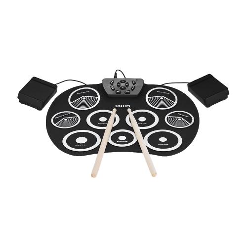 Conjunto de Bateria Eletrônica portátil Roll Up Drum Kit 9 Almofadas de Silicone USB Alimentado com Pedais de Pé Baquetas Cabo USB para Estudantes Crianças