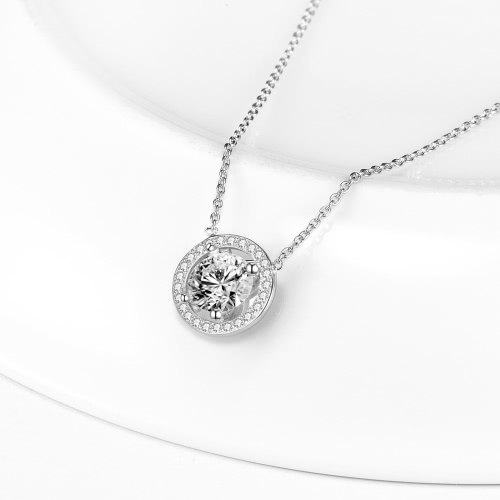 JURE S925 Solid Sterling Silver Chain Necklace The One Jewelry Zirconia Round White 18 InchApparel &amp; Jewelry<br>JURE S925 Solid Sterling Silver Chain Necklace The One Jewelry Zirconia Round White 18 Inch<br>