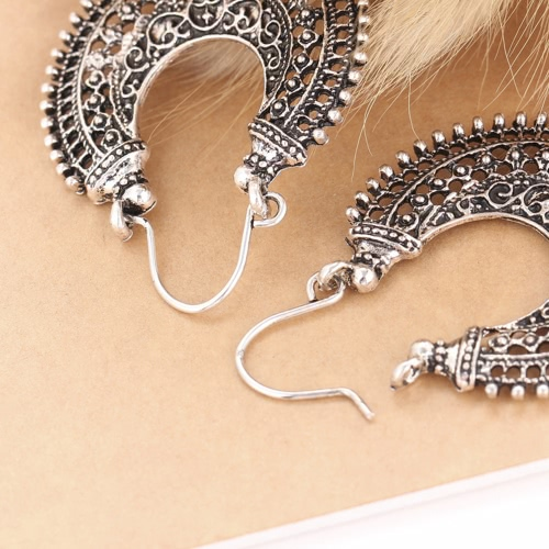 Euramerican Style Antique Silver Vintage Retro Bohemian Ethnic National Flavor U-Shaped Alloy Hollow Out Exaggerated Carved EarrinApparel &amp; Jewelry<br>Euramerican Style Antique Silver Vintage Retro Bohemian Ethnic National Flavor U-Shaped Alloy Hollow Out Exaggerated Carved Earrin<br>