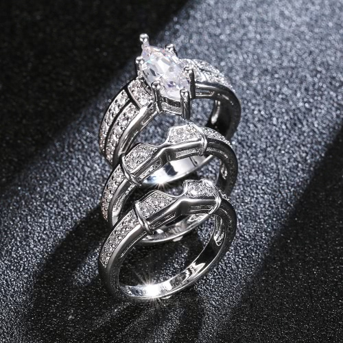 Fashion Jewelry Accessory Cut 925 Sterling Silver Crystal Ring Set for Lover Engagement WeddingApparel &amp; Jewelry<br>Fashion Jewelry Accessory Cut 925 Sterling Silver Crystal Ring Set for Lover Engagement Wedding<br>