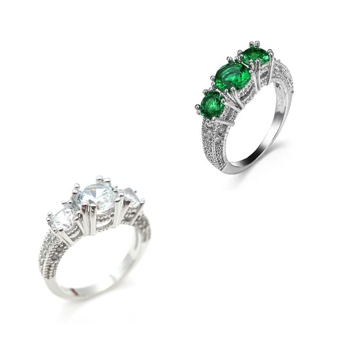 Fashion Popular Jewelry 925 Sterling Silver Three Stone Emerald Wedding Piercing Ring for Women GirlsApparel &amp; Jewelry<br>Fashion Popular Jewelry 925 Sterling Silver Three Stone Emerald Wedding Piercing Ring for Women Girls<br>
