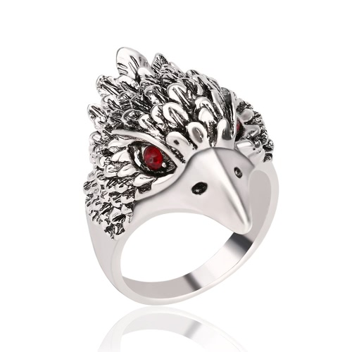 Fashion Retro Antique Silver Finger Ring Cool Eagle Head Diamond Ring for Men Great JewelryApparel &amp; Jewelry<br>Fashion Retro Antique Silver Finger Ring Cool Eagle Head Diamond Ring for Men Great Jewelry<br>