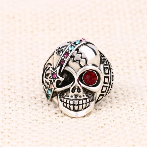 Personality Retro Skull with Red Zircon Eye Embedded Crystal Ring Different Exaggerated JewelryApparel &amp; Jewelry<br>Personality Retro Skull with Red Zircon Eye Embedded Crystal Ring Different Exaggerated Jewelry<br>