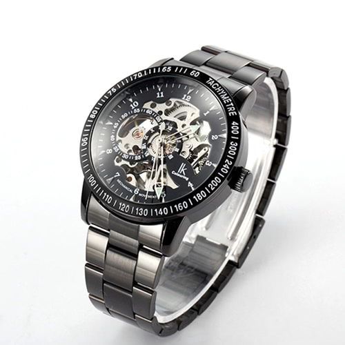 IK COLOURING Daily Water Resistant Stainless Steel Strap Automatic Mechanical Watch Skeleton Transparent Hollow WristwatchApparel &amp; Jewelry<br>IK COLOURING Daily Water Resistant Stainless Steel Strap Automatic Mechanical Watch Skeleton Transparent Hollow Wristwatch<br>
