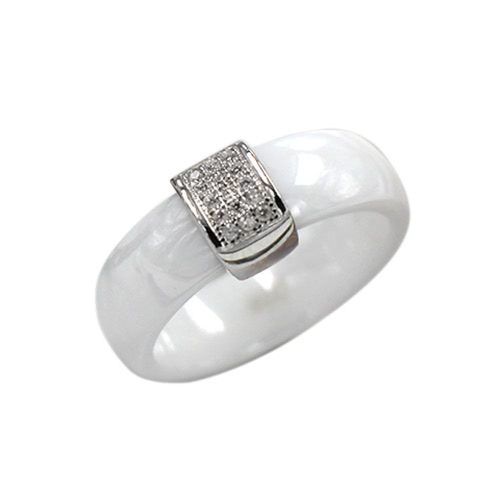 Nano Ceramic &amp; S925 Sterling Silver Polished with CZ Diamond Embedded White Gold Electroplated Dome RingApparel &amp; Jewelry<br>Nano Ceramic &amp; S925 Sterling Silver Polished with CZ Diamond Embedded White Gold Electroplated Dome Ring<br>