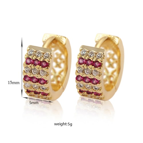 Fashion Luxurious Shining 18K Gold Plated Crystal Zircon Hoop Earring Jewelry for Women Girl Bride Wedding PartyApparel &amp; Jewelry<br>Fashion Luxurious Shining 18K Gold Plated Crystal Zircon Hoop Earring Jewelry for Women Girl Bride Wedding Party<br>