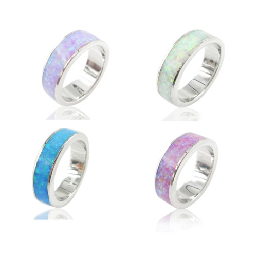 Classic Fashion 5.5mm Stackable 925 Sterling Silver Simulated Opal Band Ring Women Bridal Wedding Engagement Love JewelryApparel &amp; Jewelry<br>Classic Fashion 5.5mm Stackable 925 Sterling Silver Simulated Opal Band Ring Women Bridal Wedding Engagement Love Jewelry<br>