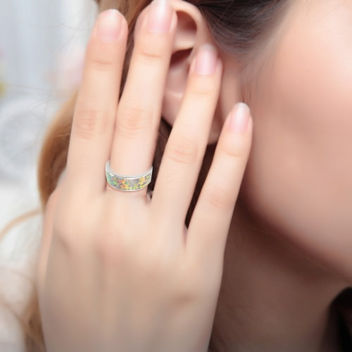 Classic Fashion 6.5mm Stackable 925 Sterling Silver Simulated Opal Band Ring Women Bridal Wedding Engagement Love JewelryApparel &amp; Jewelry<br>Classic Fashion 6.5mm Stackable 925 Sterling Silver Simulated Opal Band Ring Women Bridal Wedding Engagement Love Jewelry<br>