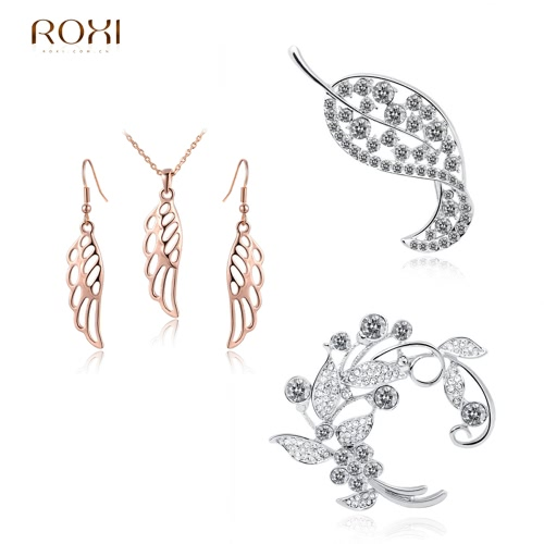 ROXI Women Bride Dress Accessory Fashion Hollow Angel Wing Charm Pendant Necklace Earring Wedding Party Jewelry Set GiftApparel &amp; Jewelry<br>ROXI Women Bride Dress Accessory Fashion Hollow Angel Wing Charm Pendant Necklace Earring Wedding Party Jewelry Set Gift<br>