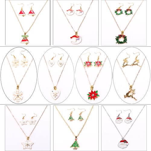 Fashion Charming Christmas Metal Zinc Alloy Necklace Earrings Enamel Jewelry Set for Woman Girls Party HolidayApparel &amp; Jewelry<br>Fashion Charming Christmas Metal Zinc Alloy Necklace Earrings Enamel Jewelry Set for Woman Girls Party Holiday<br>