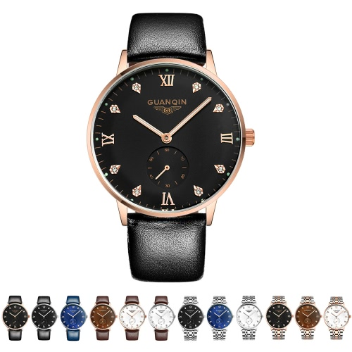 GUANQIN 3ATM Water Resistant Automatic Mechanical Watch Men Business Watch with Second Sub-dial Durable Watchband Analog Wrist WatApparel &amp; Jewelry<br>GUANQIN 3ATM Water Resistant Automatic Mechanical Watch Men Business Watch with Second Sub-dial Durable Watchband Analog Wrist Wat<br>