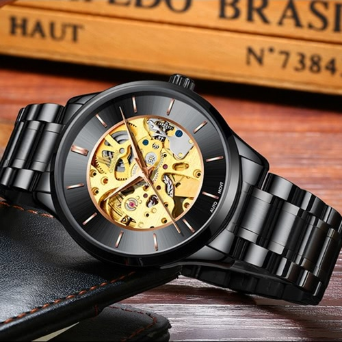IK COLOURING Luxury Skeleton Automatic Mechanical Men Watch Stainless Steel Self-Wind Watch Man Business WristwatchApparel &amp; Jewelry<br>IK COLOURING Luxury Skeleton Automatic Mechanical Men Watch Stainless Steel Self-Wind Watch Man Business Wristwatch<br>
