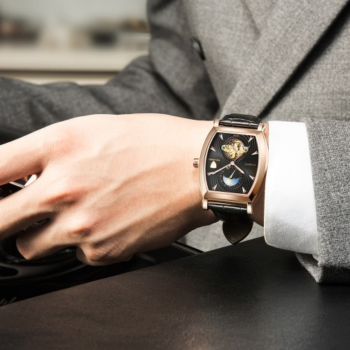 TEVISE Luxury Water-Proof Automatic Mechanical Men Watch Moon Phase Genuine Leather Self-Winding Man Casual Wristwatch + BoxApparel &amp; Jewelry<br>TEVISE Luxury Water-Proof Automatic Mechanical Men Watch Moon Phase Genuine Leather Self-Winding Man Casual Wristwatch + Box<br>