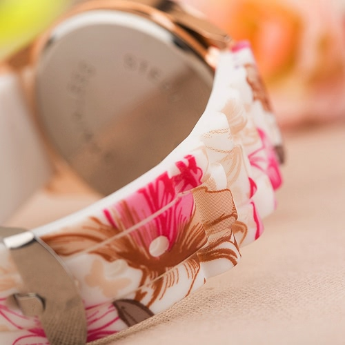 Fashion Luxury Rose Gold Quartz Women Watch Silicone Band Flower Pattern Ladies Casual WristwatchApparel &amp; Jewelry<br>Fashion Luxury Rose Gold Quartz Women Watch Silicone Band Flower Pattern Ladies Casual Wristwatch<br>
