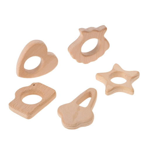 5Pcs Wooden Beech Heart Star Shape Miter Teether Toy Natural-Wooden Handicrafts for BabyApparel &amp; Jewelry<br>5Pcs Wooden Beech Heart Star Shape Miter Teether Toy Natural-Wooden Handicrafts for Baby<br>