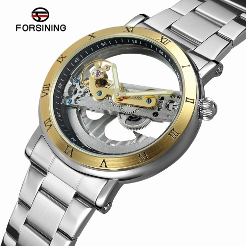 FORSINING Luxury Skeleton Automatic Mechanical Men Watch Self-Wind Stainless Steel/Genuine Leather Man Business Wristwatch + BoxApparel &amp; Jewelry<br>FORSINING Luxury Skeleton Automatic Mechanical Men Watch Self-Wind Stainless Steel/Genuine Leather Man Business Wristwatch + Box<br>