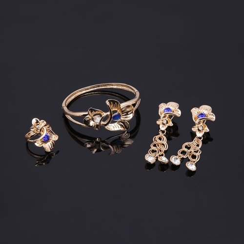 Fashion Alloy Jewelry Set Flower Dangle Rhinestone Necklace Earrings Ring Bracelet Dress Accessory for Bridal