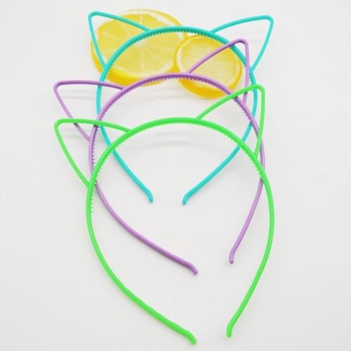 10pcs Assorted Colors Cat Ears Headbands Plastic Hairbands Hair Hoop Cute Hair Accessories Headwear for Women Girls Random Color