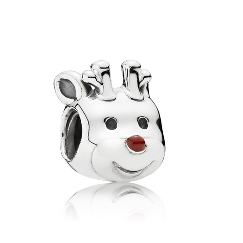Romacci S925 Sterling Silver Puppy Electroplated Bead Enameled Red for 3mm Lucky Charm Bracelet DIY