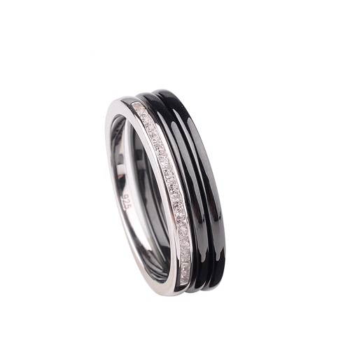 Polished Nano Ceramic &amp; S925 Sterling Silver with CZ Diamond Embedded White Gold Electroplated RingApparel &amp; Jewelry<br>Polished Nano Ceramic &amp; S925 Sterling Silver with CZ Diamond Embedded White Gold Electroplated Ring<br>