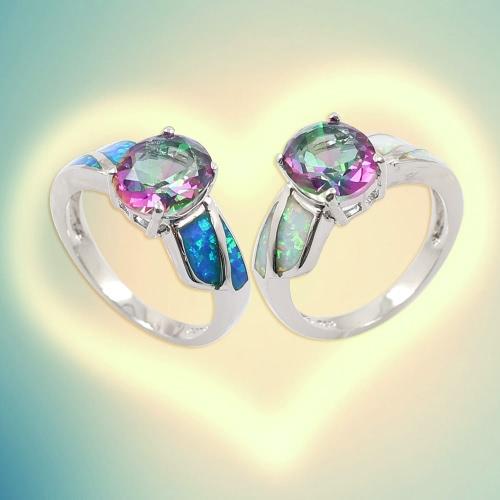 Fashion Shining CZ Diamond Simulated Opal 925 Sterling Silver Ring Women Girl Wedding Engagement Jewelry AccessoryApparel &amp; Jewelry<br>Fashion Shining CZ Diamond Simulated Opal 925 Sterling Silver Ring Women Girl Wedding Engagement Jewelry Accessory<br>