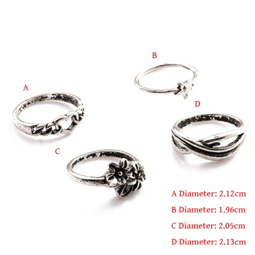 4 Pcs Fashion New Hot Vintage Retro Anti-silver Plated Knuckle Finger Ring Set Jewelry Accessories for Women Girls Party BandApparel &amp; Jewelry<br>4 Pcs Fashion New Hot Vintage Retro Anti-silver Plated Knuckle Finger Ring Set Jewelry Accessories for Women Girls Party Band<br>