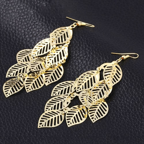 Euramerican Style Fashion Multilayer Hollow Design Gold Plated Leaves All-Match Tassel Pendant Earrings Ear Stud Jewelry AccessoriApparel &amp; Jewelry<br>Euramerican Style Fashion Multilayer Hollow Design Gold Plated Leaves All-Match Tassel Pendant Earrings Ear Stud Jewelry Accessori<br>