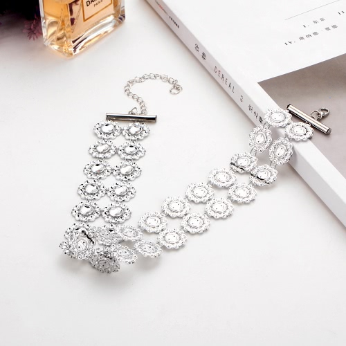 Fashion Multilayer Acrylic Crystal Hollow Flowers Necklace Choker Rhinestone Retro Short Collar Necklace Women Jewelry Gift AccessApparel &amp; Jewelry<br>Fashion Multilayer Acrylic Crystal Hollow Flowers Necklace Choker Rhinestone Retro Short Collar Necklace Women Jewelry Gift Access<br>