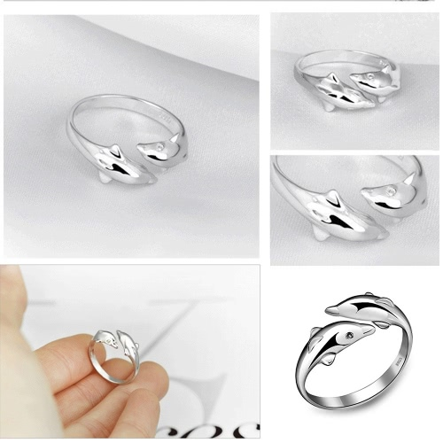 Cute Happiness Double Dolphins 925 Silver Plated Ring Fashion Jewelry Opening Adjustable Couple RingApparel &amp; Jewelry<br>Cute Happiness Double Dolphins 925 Silver Plated Ring Fashion Jewelry Opening Adjustable Couple Ring<br>